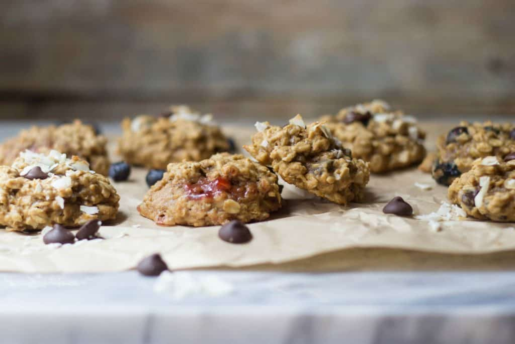 Breakfast cookies on parchment paper