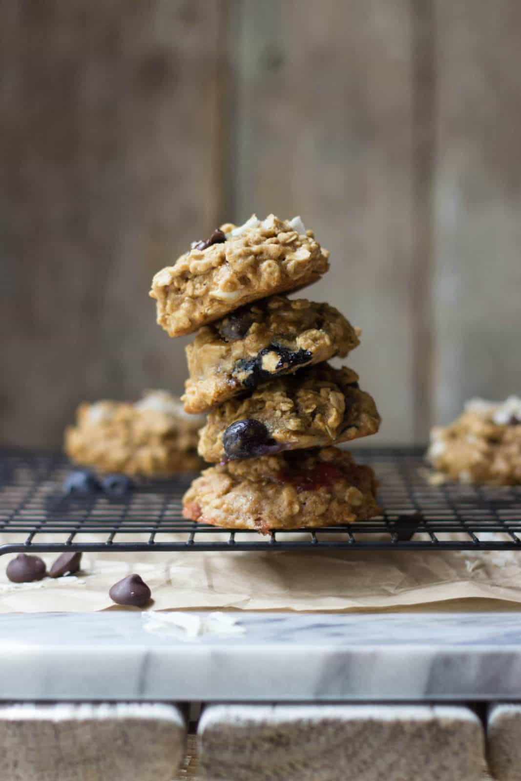 Soft breakfast cookies stacked on top of one another