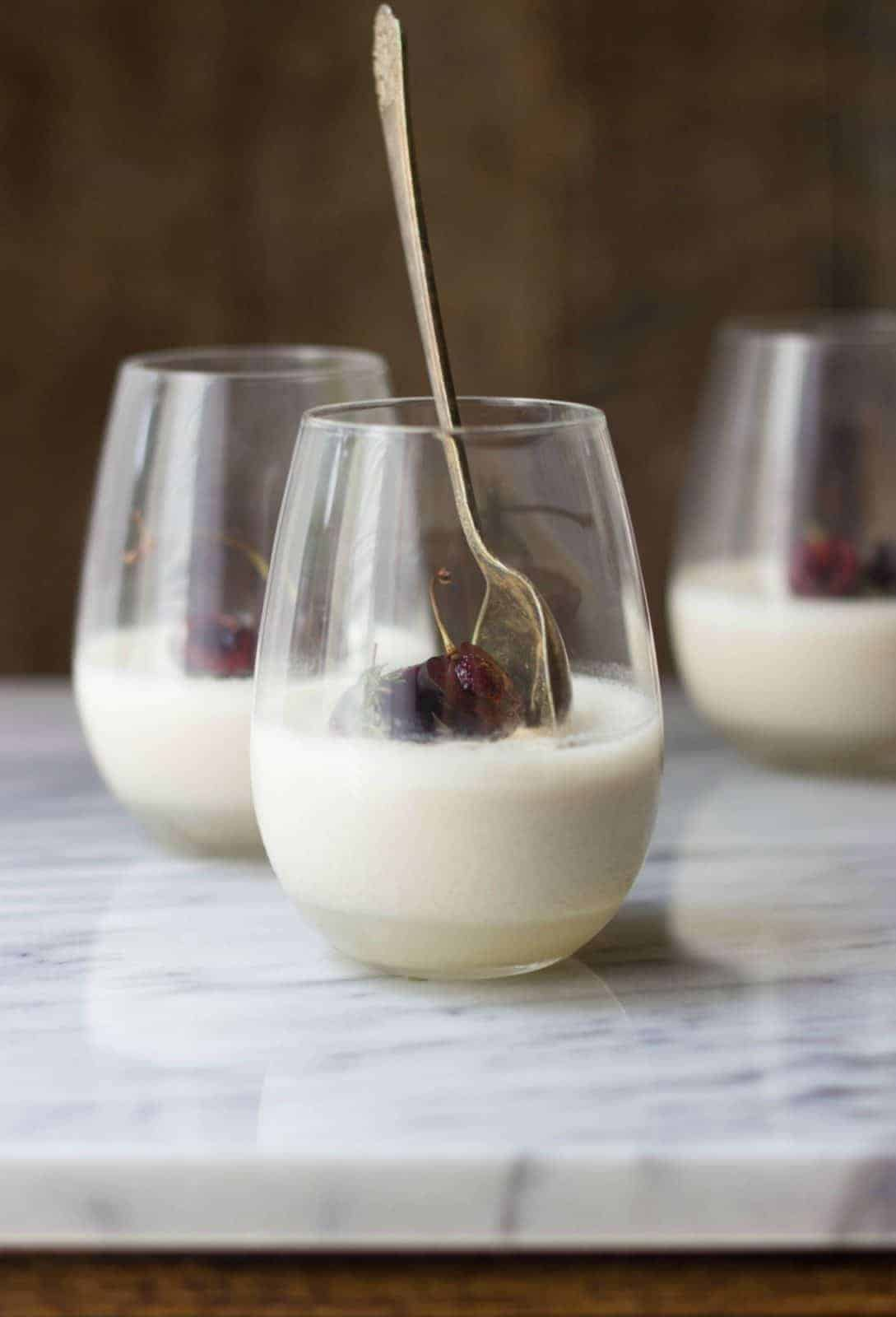 Finished coconut Milk Panna Cotta shot from the side.