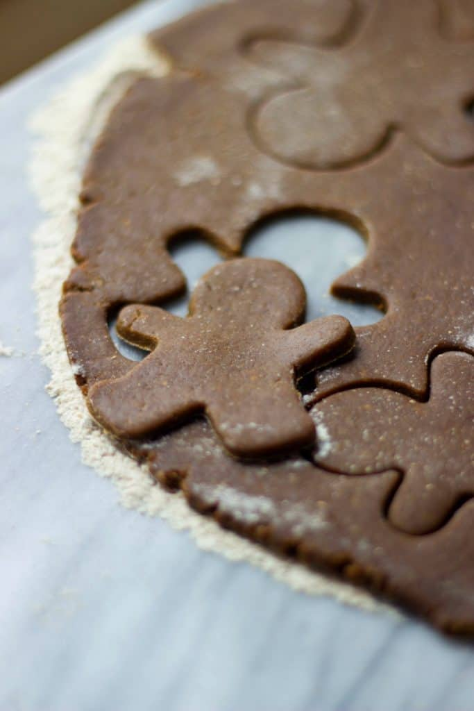 Close up shot of Gingerbread Cut-Out Cookies prior to baking