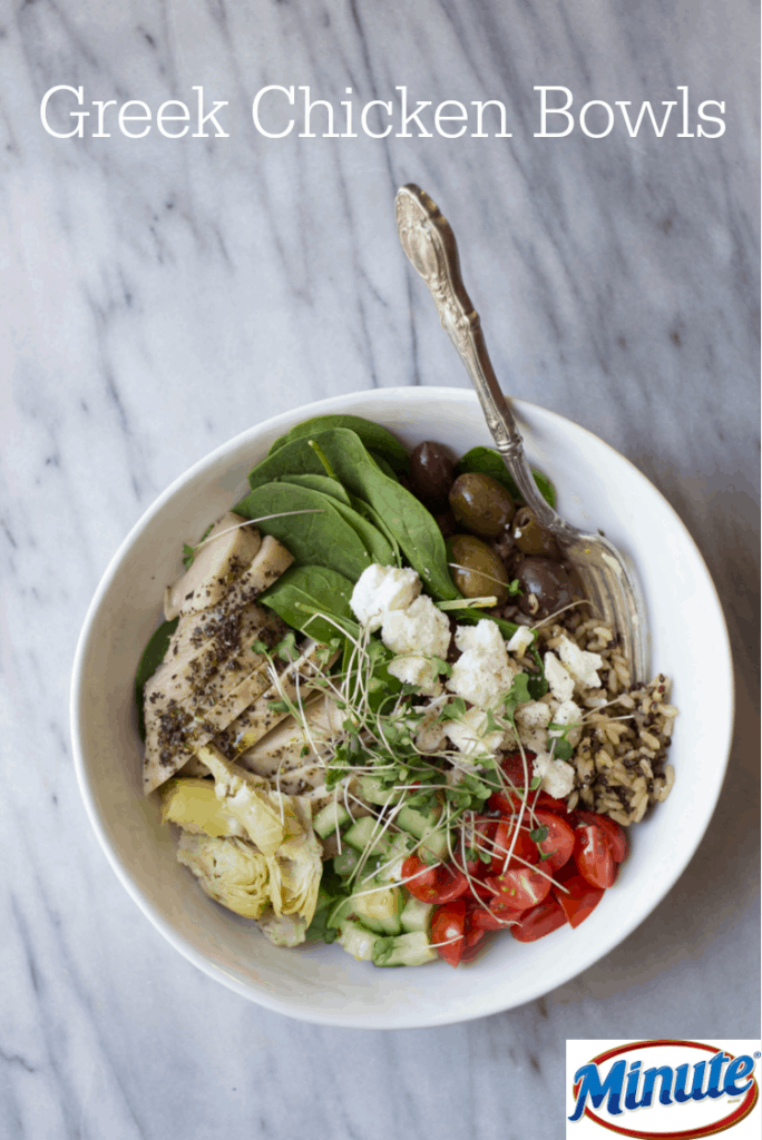 """Pinterest-friendly image with text overlay that says, """"Greek Chicken Bowls"""" with an image for Minute products in the bottom right corner"""