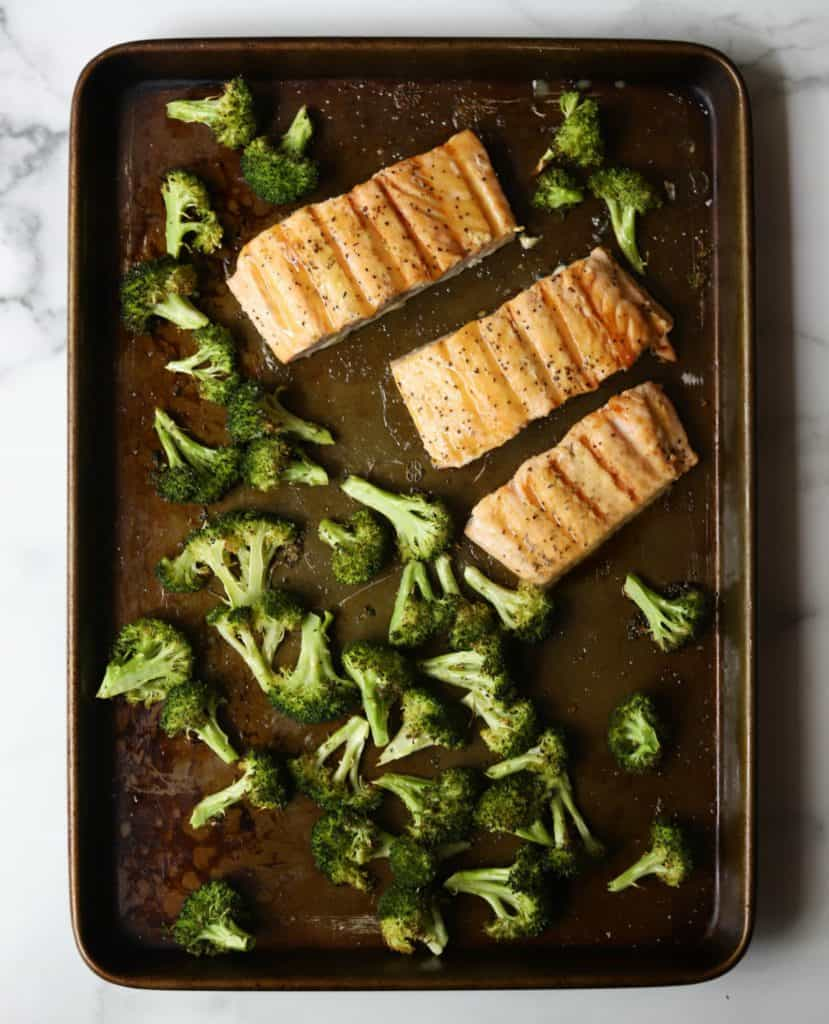 Roasted salmon and broccoli on a sheet pan