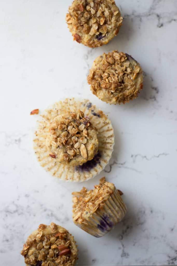 Overhead shot of Almond Flour Blueberry Muffins