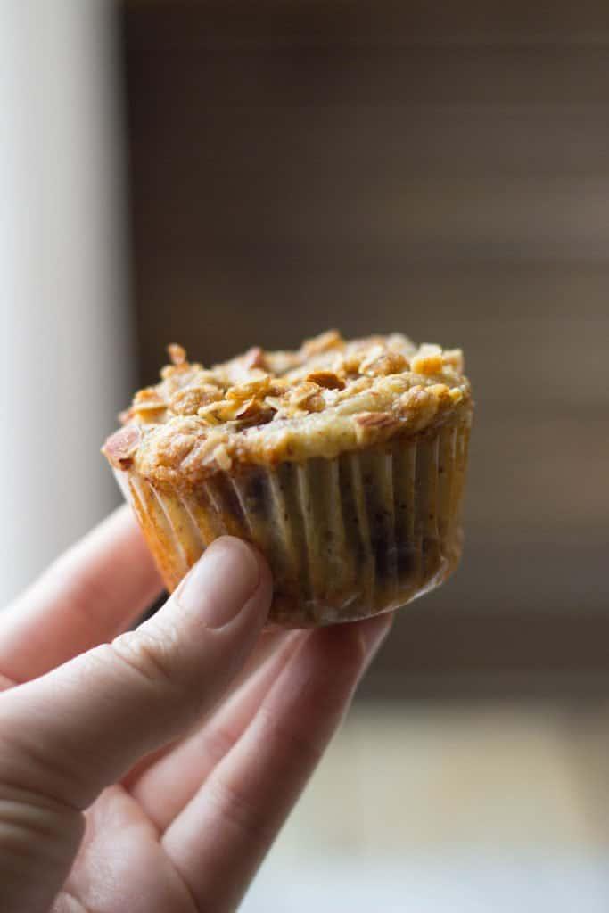 Hand holding an Almond Flour Blueberry Muffin.