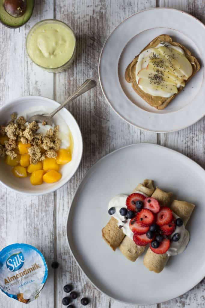 Overhead shot of Plant-Based Breakfasts and a Silk Almondmilk container.
