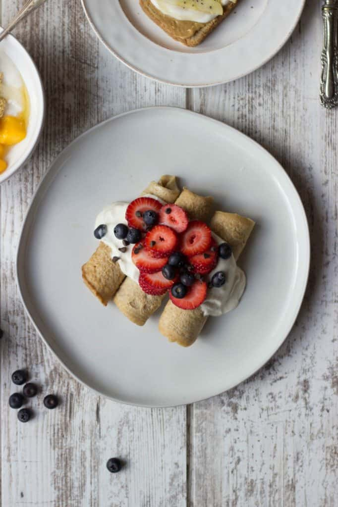 Overhead shot of crepes on a white plate.