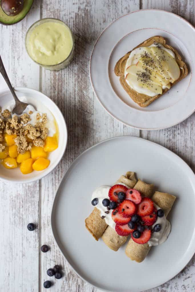 Overhead shot of four Plant-Based Breakfasts.