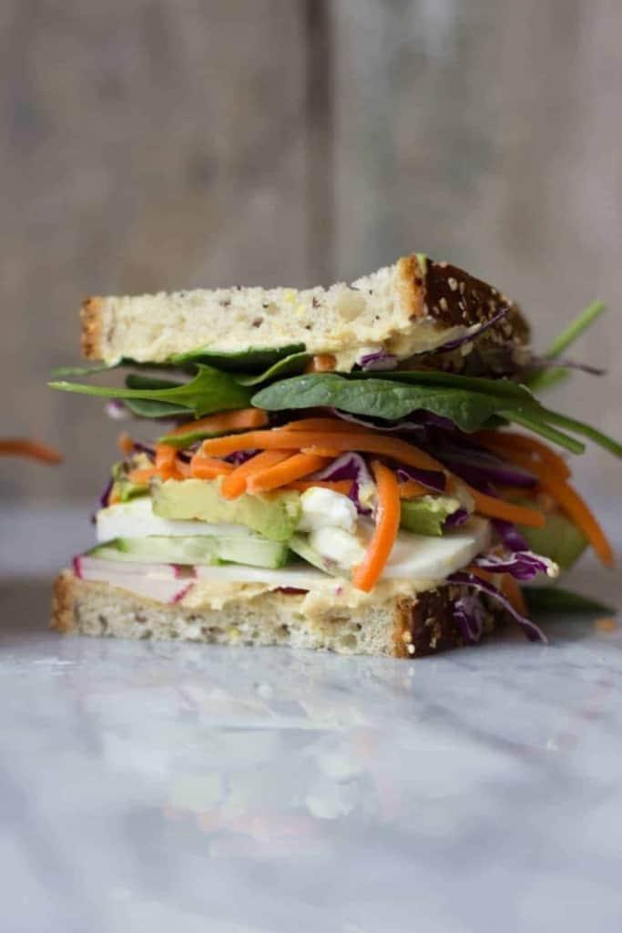 Side shot of The Ultimate Veggie Sandwich.