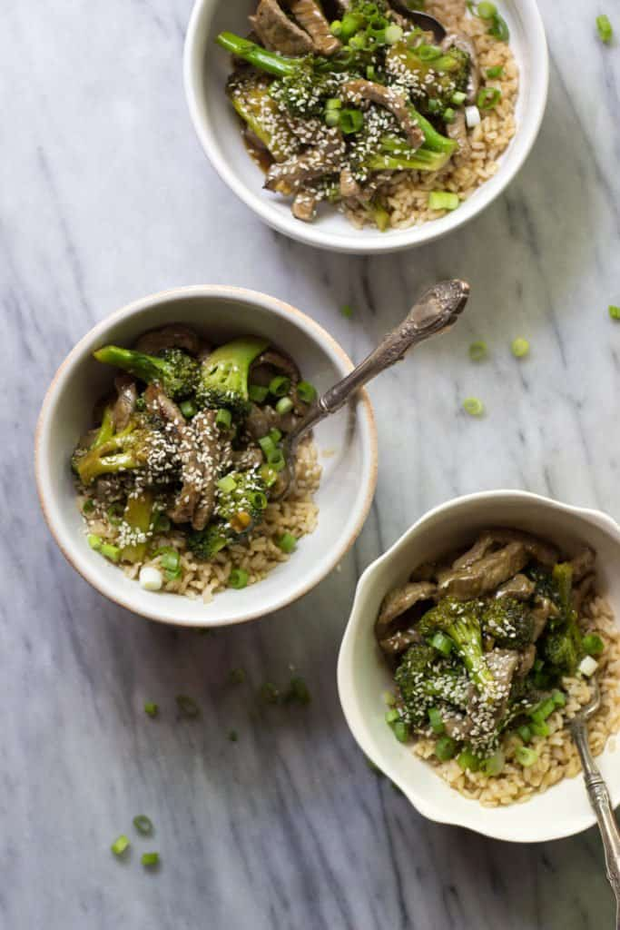 Restaurant-Style Beef & Broccoli in bowls.