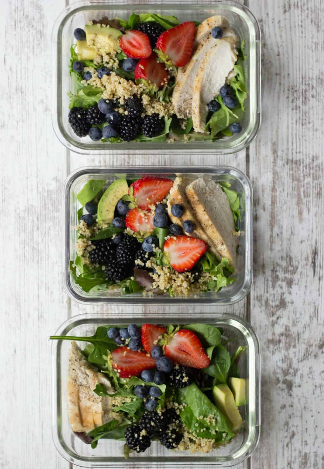Berry Chicken Salad with Honey Balsamic Vinaigrette in meal prep containers.