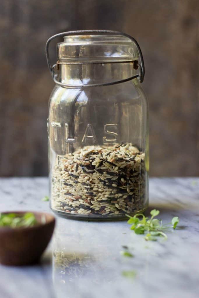 Wild rice in a clear jar.