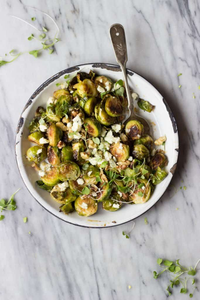 Maple Mustard Brussels Sprouts on white plate.