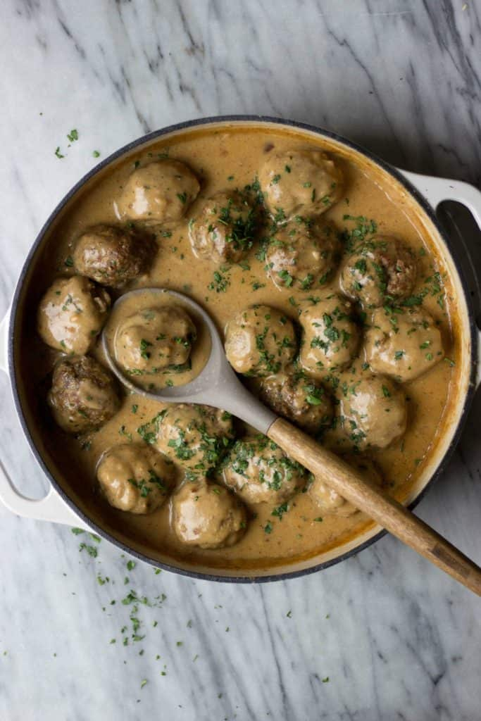 Swedish Meatballs in white dish.