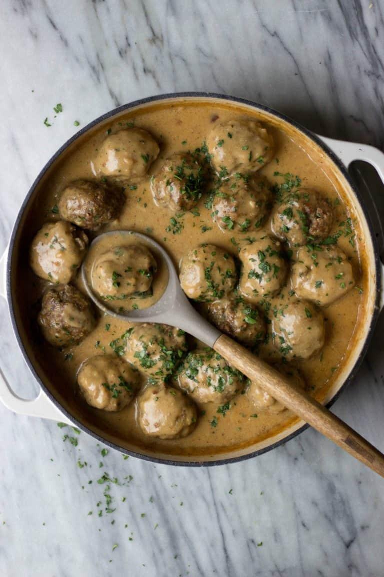 Swedish Meatballs in white dish.