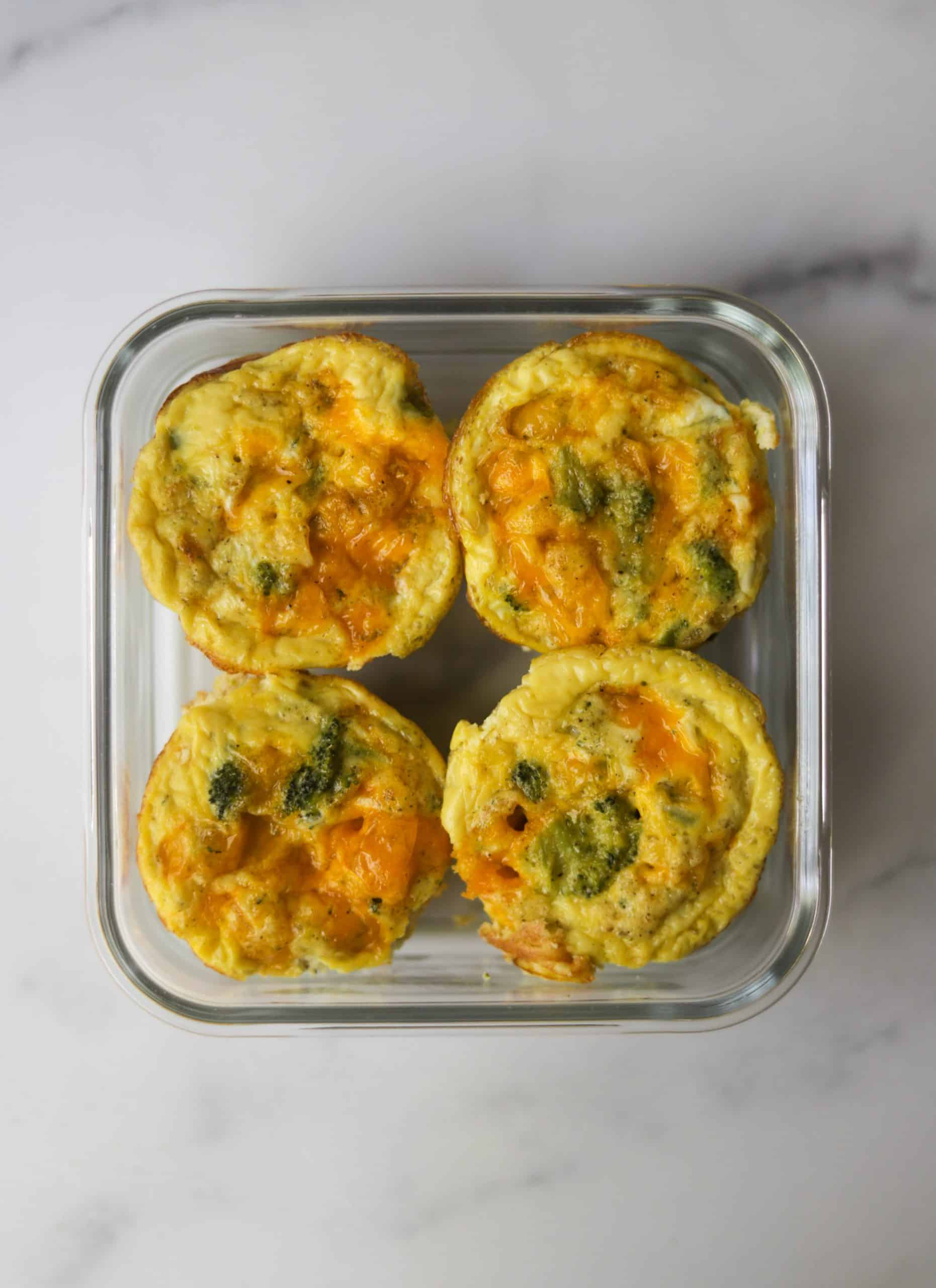 Egg muffins in a meal prep container.