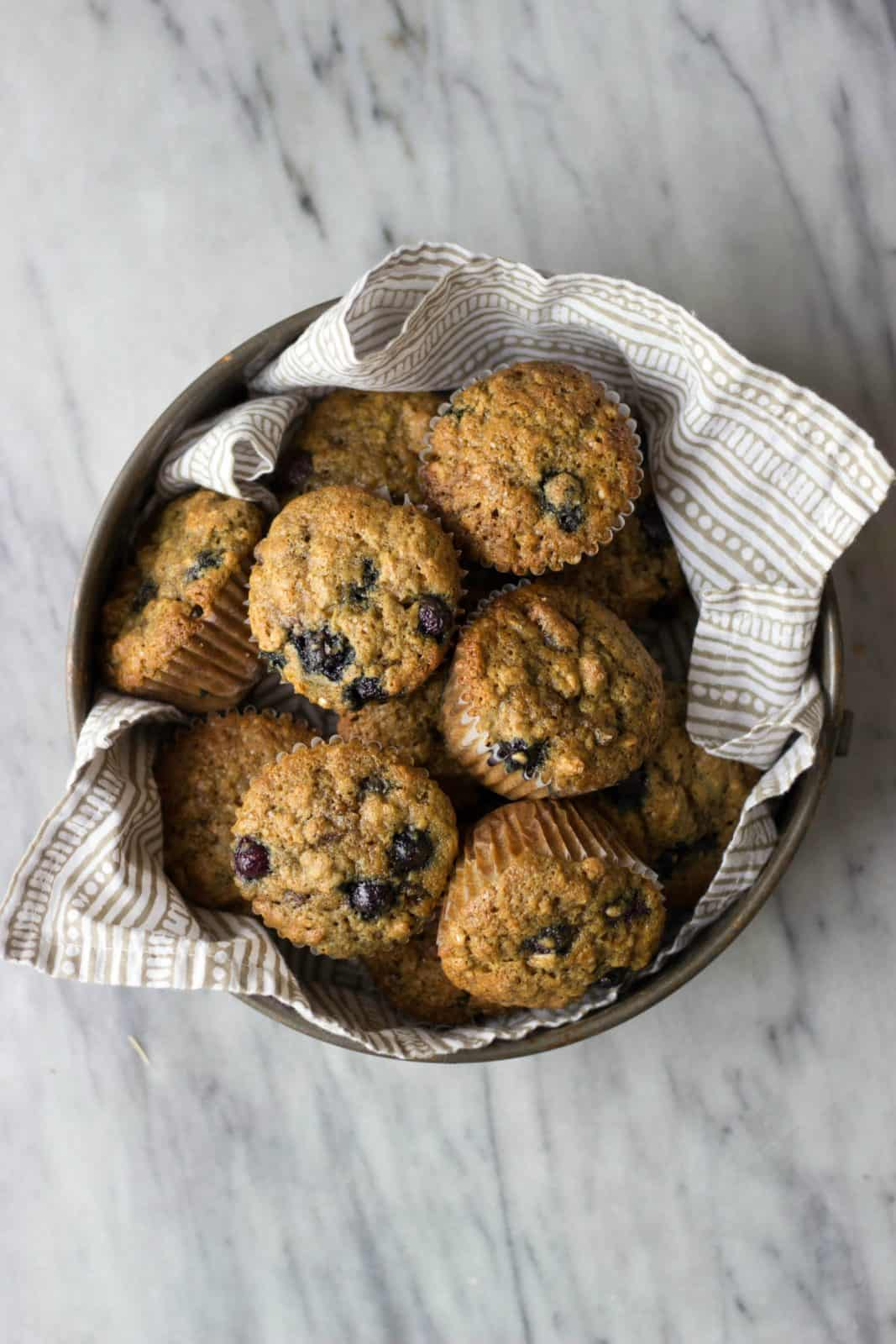 Healthy Blueberry Date Muffins in a tin.