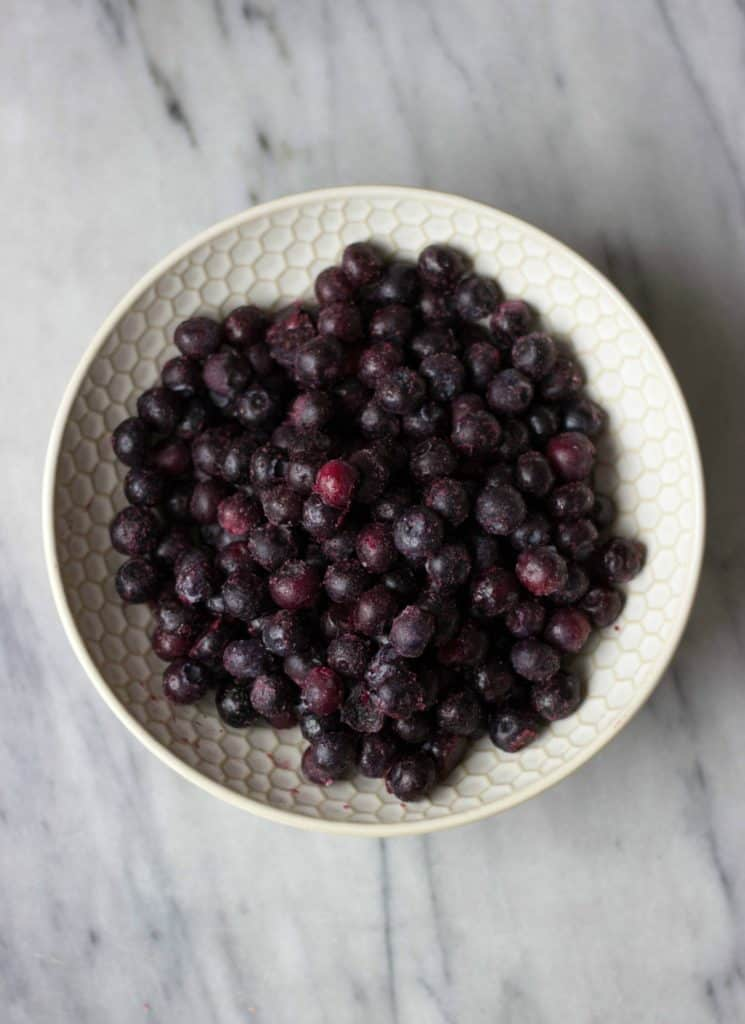 Overhead shot of Blueberries in a white bowl