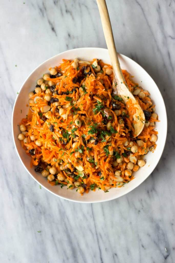 Carrot, Chickpea & Raisin Salad in a white bowl
