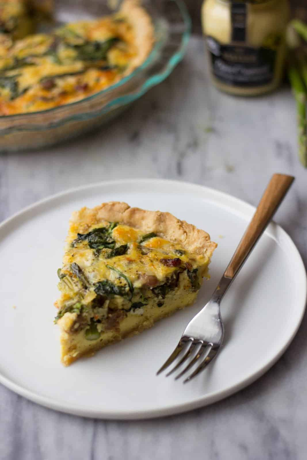 Asparagus & Sausage Quiche with leafy greens cooked into it.