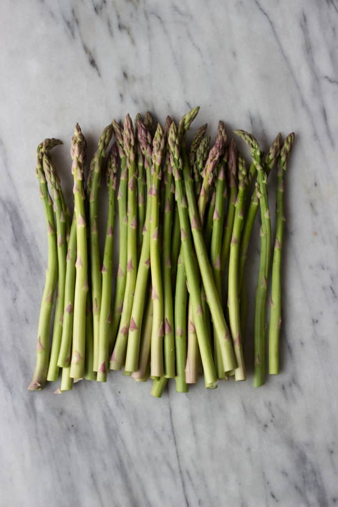 Fresh Asparagus on a marble board