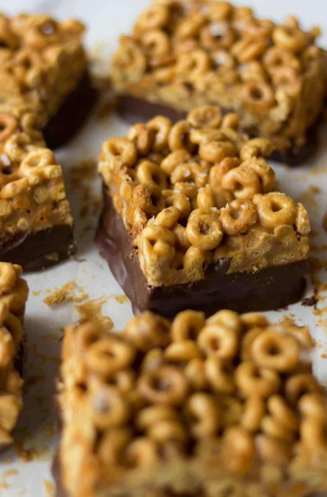 Angle shot of Chocolate-Dipped Peanut Butter Cereal Bars
