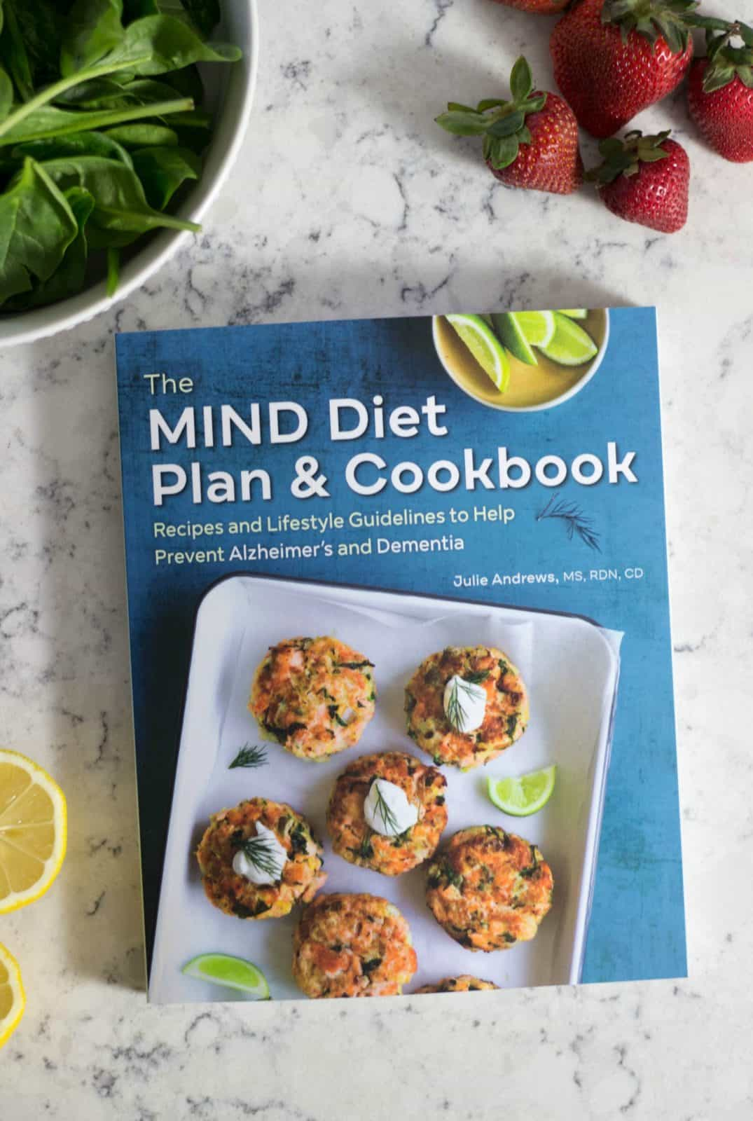 MIND Diet Cookbook on a white marble counter