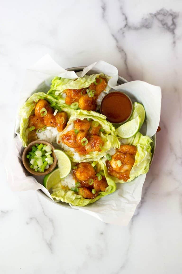Firecracker Shrimp Lettuce Cups