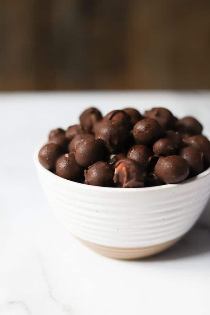 Tru Fru Whole Blueberries in a white bowl