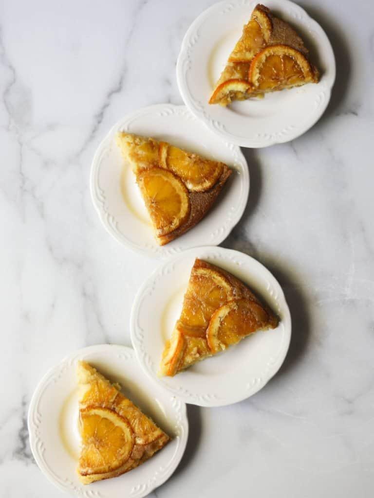 Cornmeal-ricotta cake slices on plates