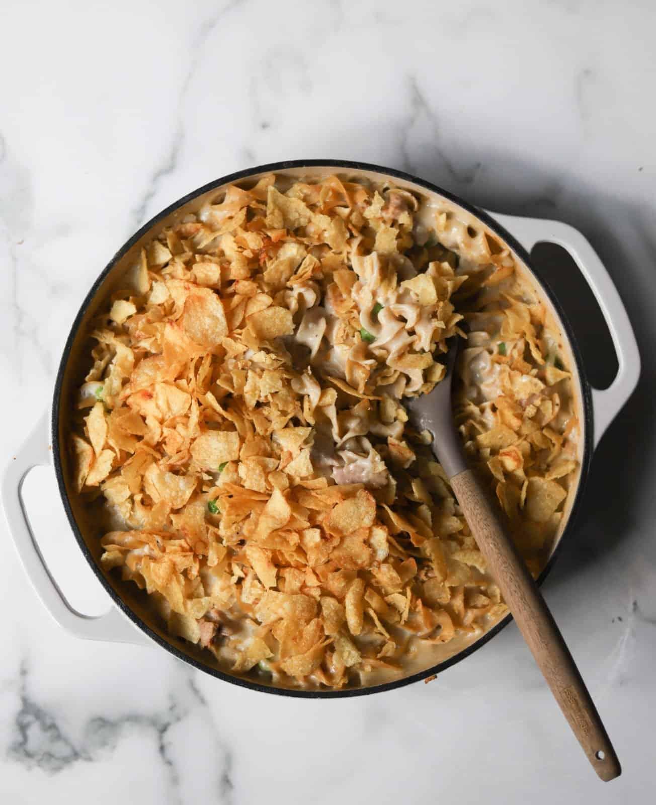 Finished Tuna Noodle Potato Chip Casserole recipe