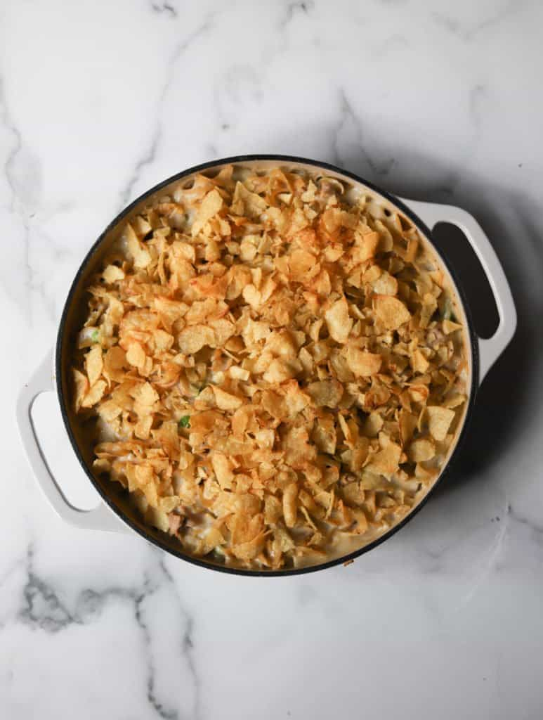 Overhead shot of Tuna Noodle Potato Chip Casserole