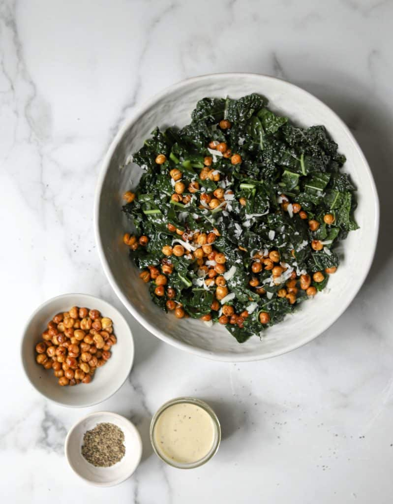 Kale & Crispy Chickpeas and Caesar Dressing in bowls