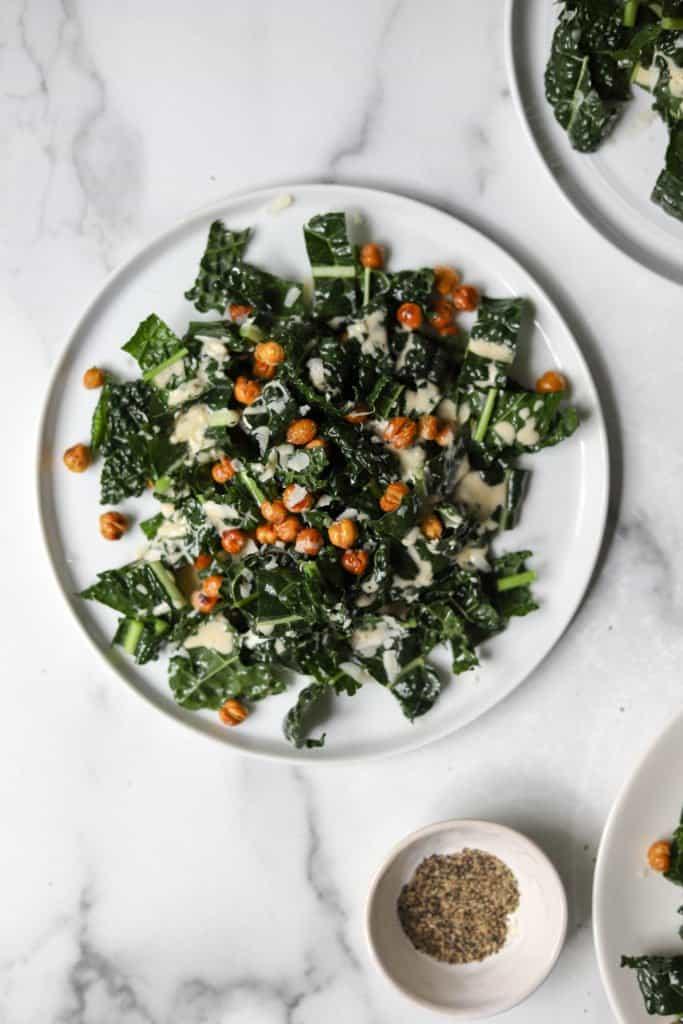 Caesar salad on a white plate