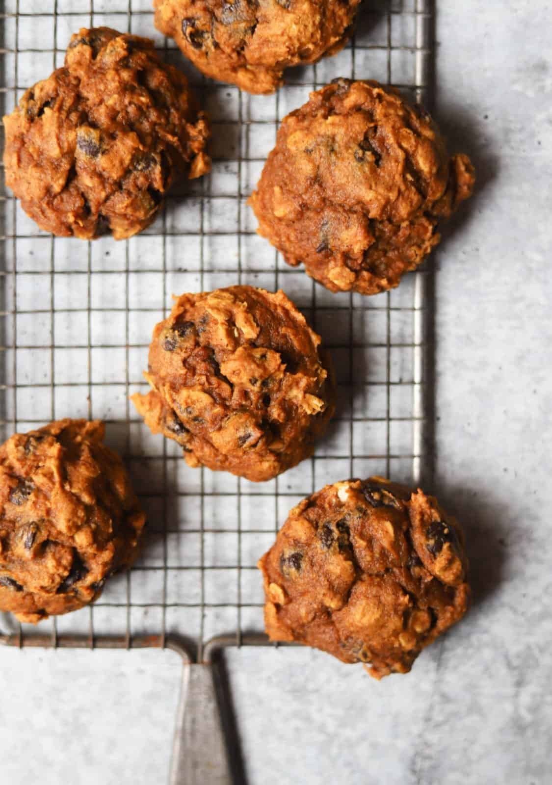 Pumpkin cookies on a rack