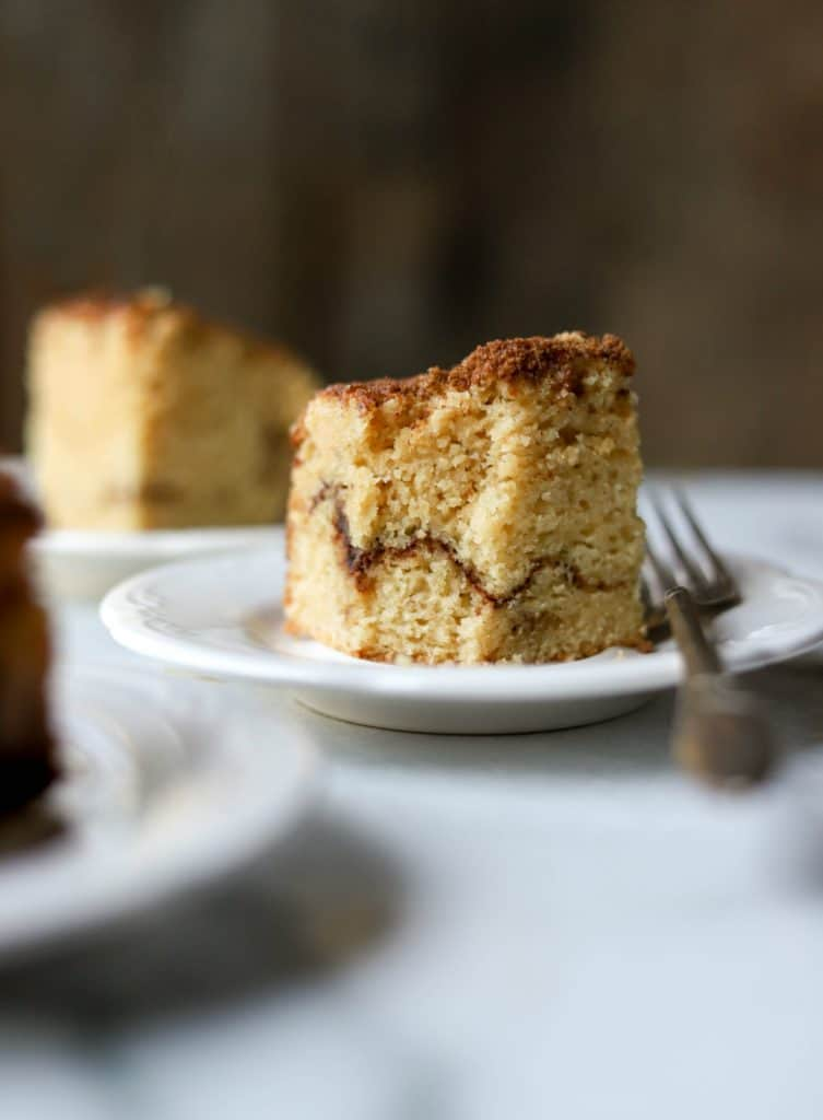 Coffee cake on white plates