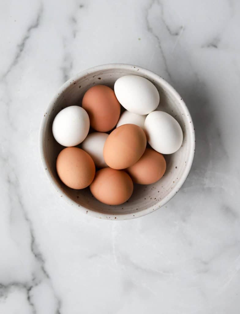 Eggs in a white bowl
