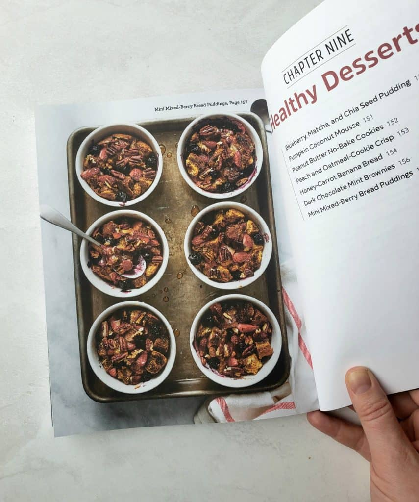 Berry bread puddings in page of cookbook