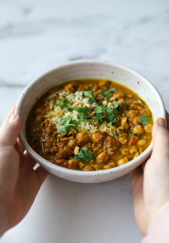 Chickpea coconut curry in a white bowl