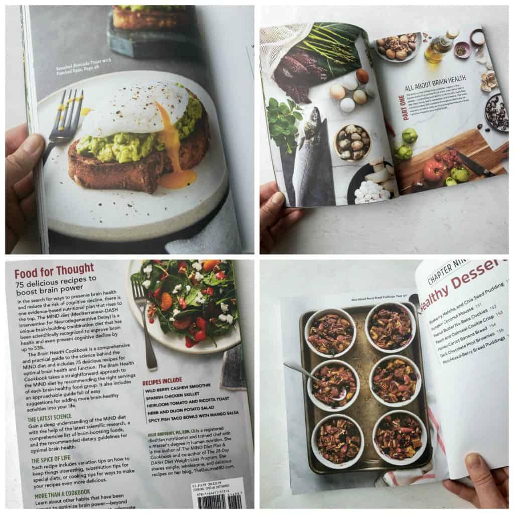 Collage of brain health cookbook photos