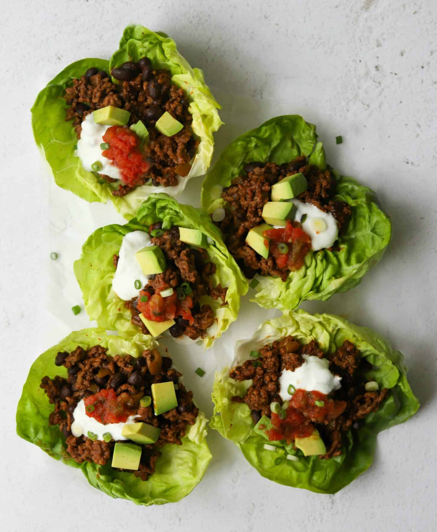 Taco Lettuce Cups on a white board