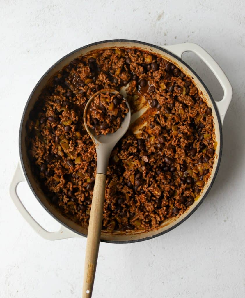 Taco meat on a white background