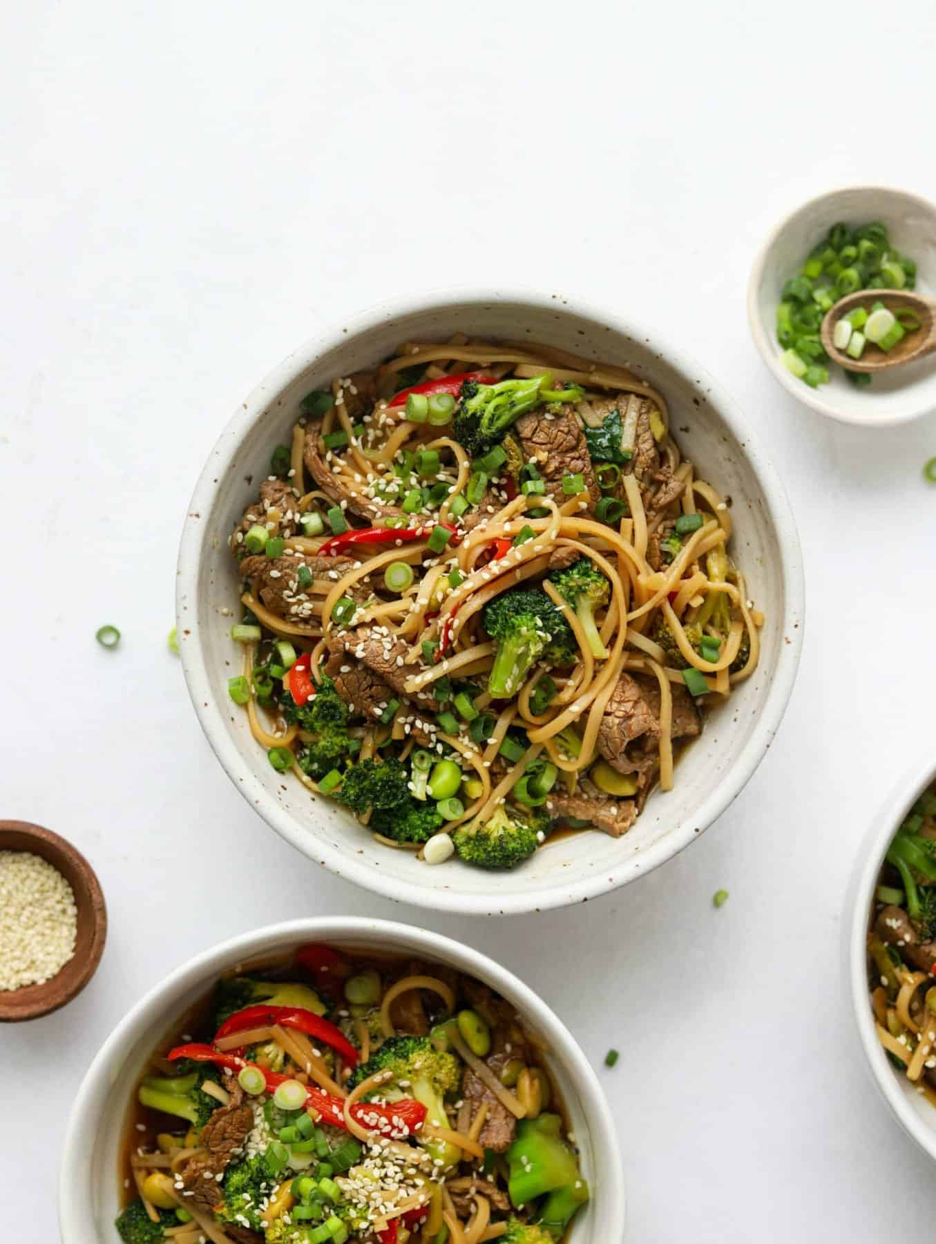 Overhead shot of Asian-Style Beef & Veggie Noodle Bowls
