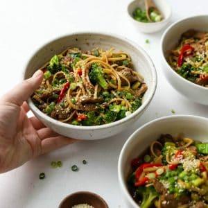 Asian-Style Beef & Veggie Noodle Bowls