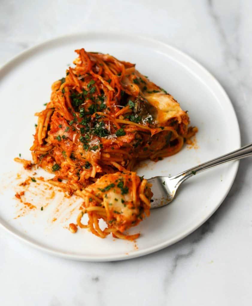Spaghetti Pie in a casserole dish
