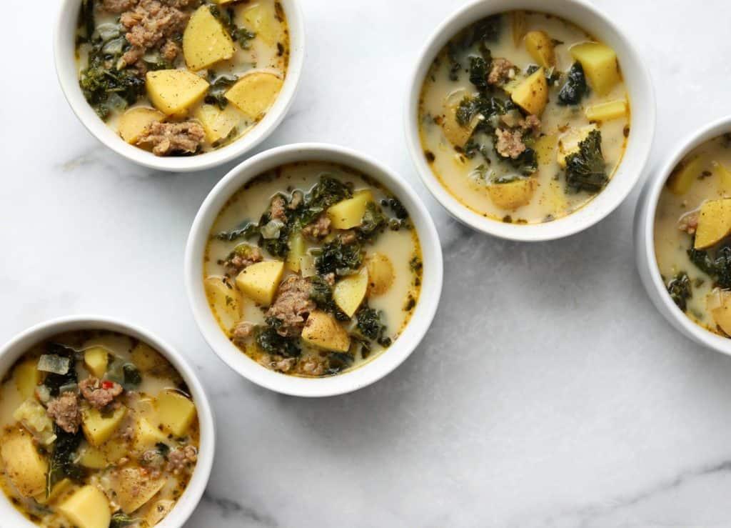 Five bowls of soup