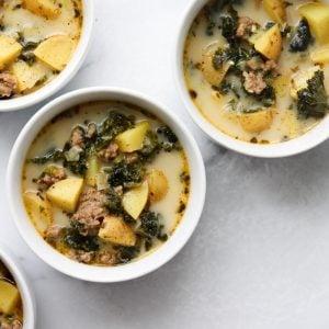 Four bowls of soup