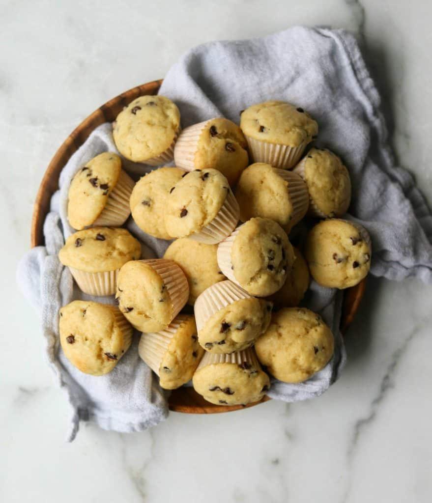 Mini muffins in a basket