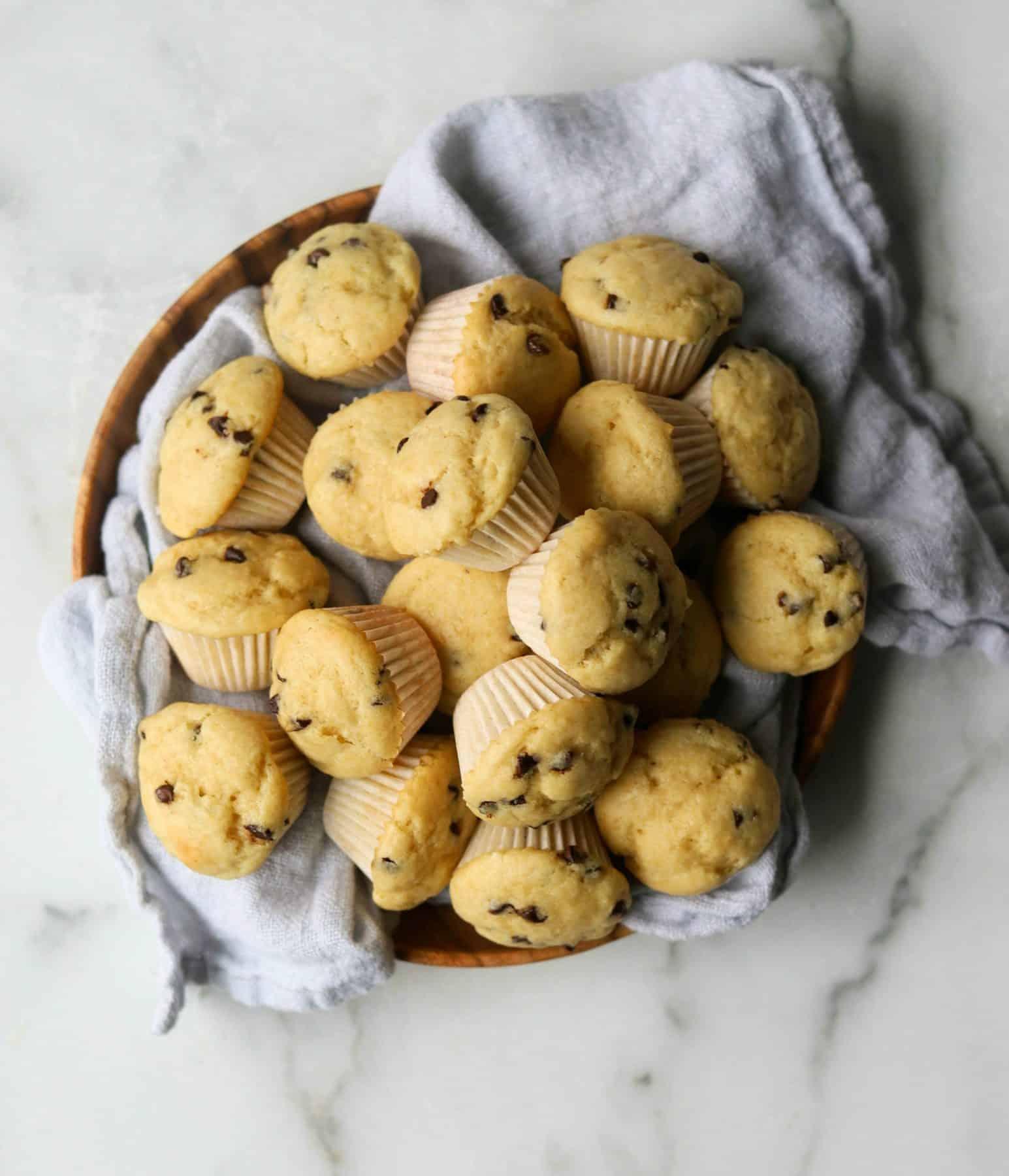 Mini muffins in a basket.