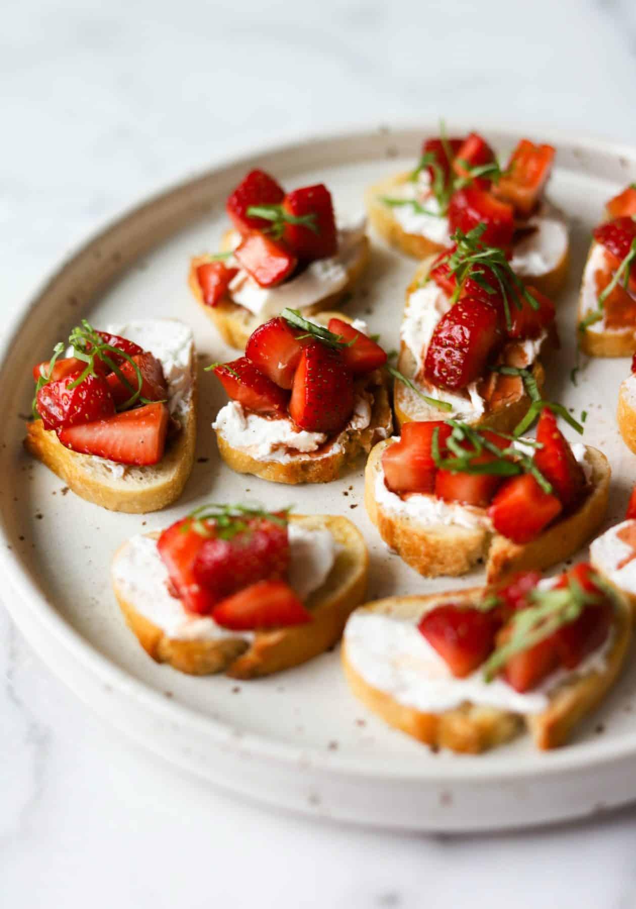Strawberry basil bruschetta uses in-season strawberries