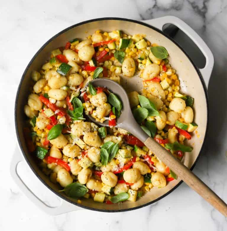 Gnocchi skillet in a white pan